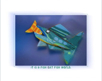 Original Whimsical Fish Art Print - Fun Colorful Reproduction Wall Decor for any Room
