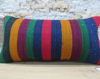multicolored kilim kissen 12x24 kilim pillow cover handmade pillow bohemian pillow kilim cushion 12x24 morocco pillow floor cushion code 088