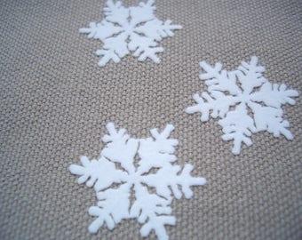 Snowflake iron-on velvet flock appliques