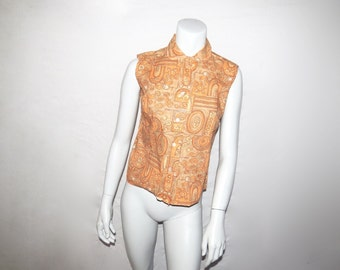 Vintage Early 60s NOS Never Worn Sleeveless Paisley Blouse
