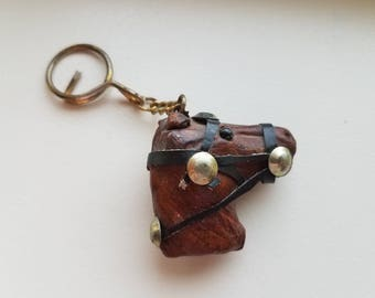 Leather Horse Head Key Ring