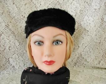 Mink Pillbox Hat Black with Satin Trim...Vintage Black Mink Pillbox Hat