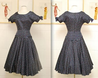 1950's/60's Navy Blue Multi Cokored Polka Dot Taffeta Fit and Flare Dress / Rare Collectable Retro