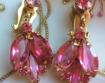 Pink Rhinestone Earrings - Open Back Juliana Style