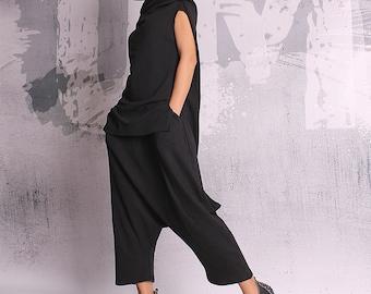 Woman Pants, Black long pants, loose oriental pants, extravagant pants, harem pants, trousers, loose pants, oriental pants - UM-055-QC