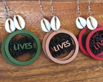 BLM Earrings w/ Authentic Cowrie Shells