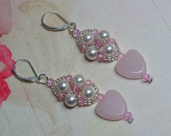 Pink Heart Earrings, Valentine Earrings, Heart Earrings, Valentine's Day, Beaded Earrings, Pearl Earrings, Holiday Earrings, Dangle Earrings
