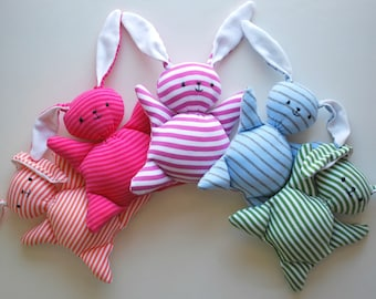 Light Blue Stripey Mooshy Belly Bunny - Easter - baby toy - Rabbit Plush - Stuffed Animal - Upcycled - Bunny Plushie - Soft - Sweet - Small