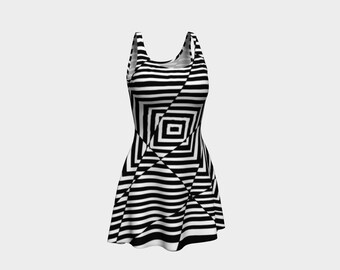 Crazy Stripes Dress - Unique Flare Dress - Circus Clothing - Cute Festival Clothes - Ethical Clothing