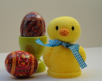 Knitted chick egg cosy, duckling egg cosy, yellow chick egg cosy, Spring chick egg cosy, Easter egg cosy, Spring baby chick egg cosy