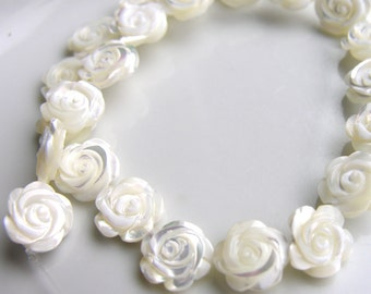 Beautiful Carved White Shell Flower Beads  4