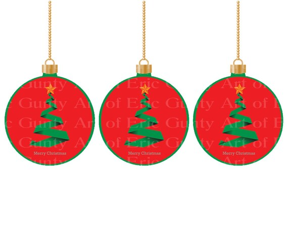 Christmas Tree Ornaments - Edible Cake and Cupcake Topper For Birthday's and Parties! - D22019