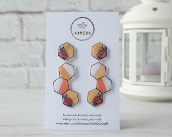 Hexagon Gold and MAXI flower earrings