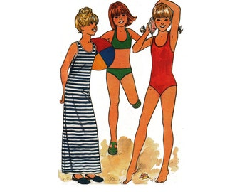 """1970's Butterick 5495 Girl's Summer Bikini, Swimsuit, Cover-Up Size 7-8    Bust 26-27""""/ 66-69cm    Vintage Sewing Pattern UNCUT"""