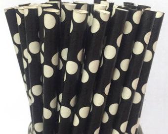 2.85 US Shipping -Black Dot Paper Straws - Black Straws - Black Cake Pop Sticks - Drinking Straws