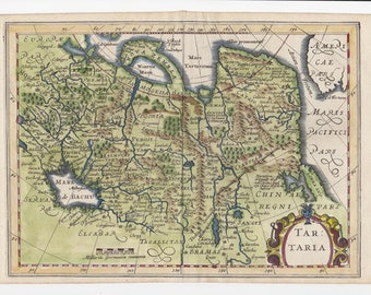 Old map of asia etsy antique map of tartary central asia 1676 old map huge map gumiabroncs Image collections