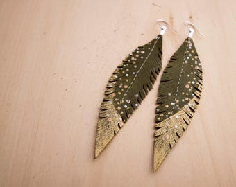 Green, Gold and Silver Hand-painted Reclaimed Leather Feather Earrings