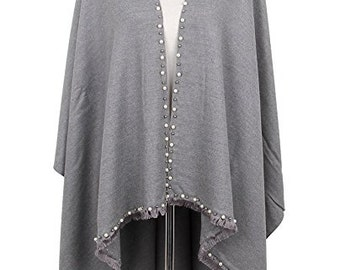 Exquisite Pearls and Beads Poncho Shawl Wrap
