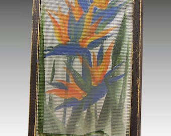 Shabby Chic Wood Frame Earring Holder for Pierced Earrings. Hand Painted Earring Display on Screen. Bird of Paradise Design. Great Gift Idea