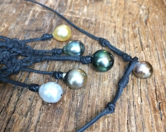 Australian pearls and Tahitian pearl necklace for woman, Australian leather