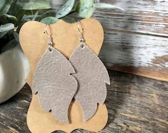 Leather Leaf earrings - October Sky