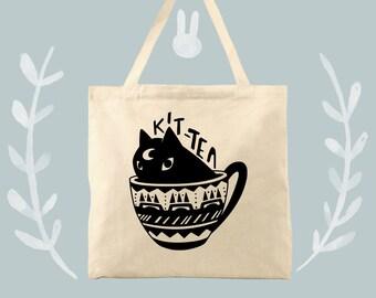 kit tea a cotton canvas cat fan tote bag