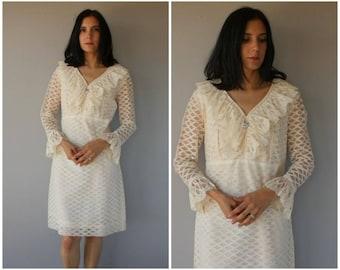 Vintage 1960s Dress | 60s Dress | 1960s Lace Dress | White Lace 60s Dress | City Hall 1960s Wedding Dress | 1960s Party Dress - (large)
