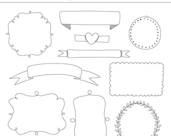 10 Hand Drawn Digital Frames Clipart, Set 2 - For Personal and Commercial Use - INSTANT DOWNLOAD