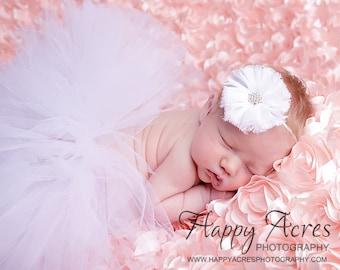 WHITE NEWBORN TUTU with chiffon headband....newborn tutu, baby tutu, 1st birthday tutu, photography prop