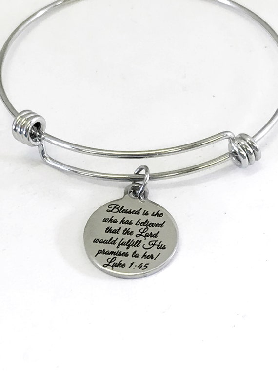 Christian Bracelet, The Lord Will Fulfill His Promises Bracelet, Christian Gift, Blessed Is She Bracelet, Bible Verse Gift, Christian Charm