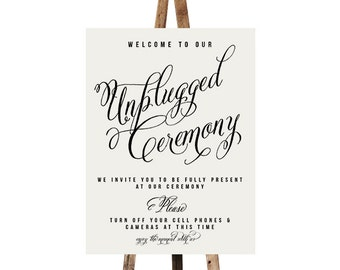Printable Unplugged wedding sign, Aurora, Ceremony decor Unplugged sign Wedding signage diy Unplugged ceremony sign No cellphone