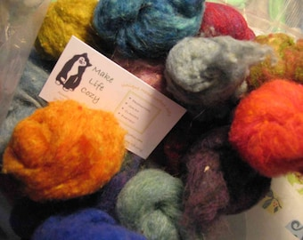 Wool Roving Grab Bag Special 3 oz  Needle Felting Fiber by Make Life Cozy Ships from USA