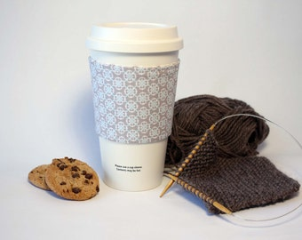 Coffee Cozy, Cup Cozy, Tea Cozy, Gray and Light Blue Reversible & Reusable Coffee Cup Sleeve, Stocking Stuffer, Bridesmaid Gift, For Her