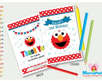 6 Elmo Coloring Books, Personalized Coloring Books, Sesame Street Birthday Party Favors, Elmo Party  A1214