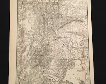 Antique Map of Utah, Original 1888 Map by Rand McNally, Vintage Map for Framing