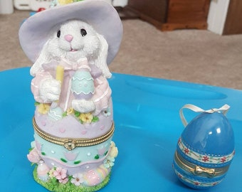 Easter Hinged Trinket Boxes Easter bunny and Easter egg