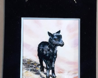 Lamb watercolor mini print magnet with hanger