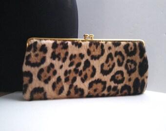 Classic High End 1960's Vintage Leopard Faux Fur Handbag * Retro Rockabilly Mid Century Clutch Purse * Old Hollywood Regency Glamour