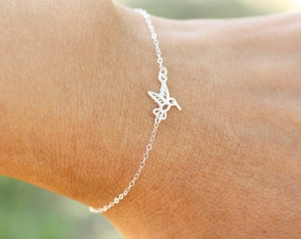Tiny Sterling Silver Hummingbird Bracelet or Anklet, Tiny Gold Vermeil Hummingbird Bracelet or Anklet, best friends, bridesmaids gift