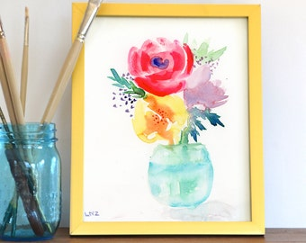 Watercolor Print, Flowers, Vase, Fine Art, Floral, Modern Art, Ink, Minimalist, Garden Floral, Abstract Art, Bohemian