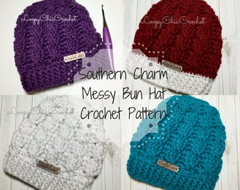 Southern Charm Messy Bun Hat Crochet Pattern and Photo Tutorial, Intermediate Cabled Messy Bun Beanie Crochet Pattern
