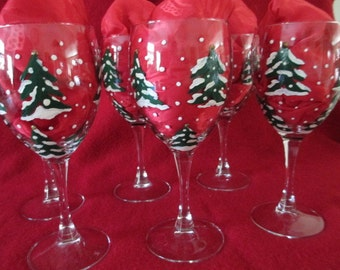 Six Hand painted Christmas tree wine or water goblets
