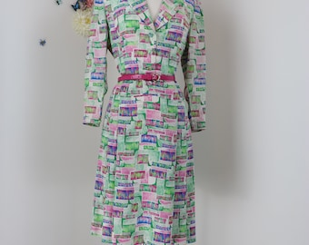 1940s 50s Shift Day Dress - Pleated Full Skirt - Graphic Abstract Print - Medium/Large - Long Sleeve - Summer Spring - Mad Men Style