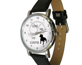 Love me, love my staffie design wristwatch - Ideal for staffie Lovers - dog Gift - mens watch - womans watch