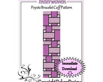 Bead Pattern Peyote(Bracelet Cuff)-Interwoven