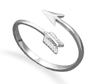 Minimalist 925 Sterling Silver Sideways Arrow Wrap Around Stackable Midi Knuckle Ring