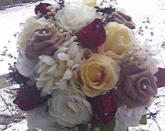 Rustic burlap...yellow roses.....round wedding bridal bouquet