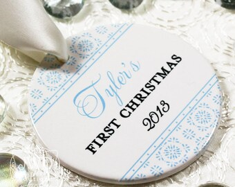 Baby's First Christmas Ornament My First Christmas Ornament Newborn Ornament Personalized Baby Gift - Crystalline Pattern - Item# CRY-B1-O