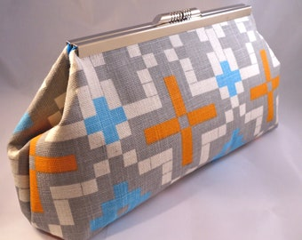 Orange and Turquoise Mosaic Clutch