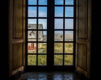 Country Window Fine Art Photography large wall art canada cape breton beach nova scotia shutters homey warm old fashioned